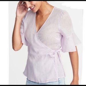 Old navy linen wrapped linen top women's size xl